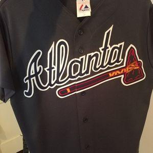 Majestic Navy Atlanta Braves Jersey Size Medium